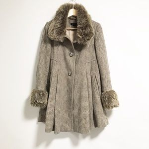TopShop. Tan tweed and faux fur trimmed jacket